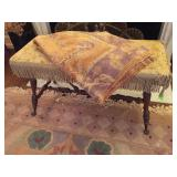 Antique Needlepoint Covered Glass Ball / Claw Footed Turned Leg Fireplace Bench, Silk Area Rug