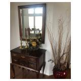Mahogany Entrance Piece, Mirror, Antique Brass Candle Stickes