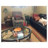 Brown Leather Sofa, Lift Chair, Oval Coffee Table