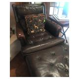 Vintage Brown Leather Chair and Ottoman