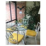 Iron Patio Set with Glass Top Table