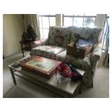 Floral Settee, Stone Vintage Cofee Table