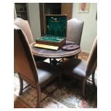 Round Table, Leather Studded Side Chairs