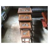 "Nesting Tables, Vintage Hand Painted with Inlaid Jade/Stone. Set of 4, Largest is 20"" x 15"" x 24""h L"