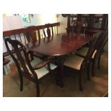 Queen Anne Style Formal Dining Table with Chairs (two are slightly different). Comes with 2 Leaves a
