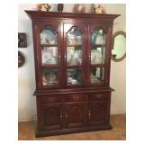 Cherry Wood China Hutch with Brass Fixtures , Inside Light, Mirrored Back, Glass Shelves. Lot Number