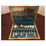 William Rogers International Silver Plated Formal Flatware with Storage Box, 71 pieces + Lot Number:
