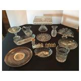 Square Fostoria Pedestal Cake Plate, Bohemia Glass, Crystal Dishes, Silverplate spoons, Personal S&P