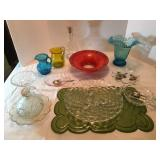 Lot # 24 - Fostoria three Toed Cake Plate, Vintage Dishes, Candlewick, Glass Art, Silverplate Spoons
