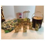 Lot # 25 - Gold & Green Vintage Drinking Glasses, Ice Bucket, Table Runner, Tablecloth, Plastic Plac