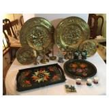 Decorative Brass Platters and Candlesticks, Metal and Wood Painted Trays, Ceramic Tile, Vases.