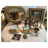 Oval Framed Mirror, Framed Painting, Collectibles from Greece & Italy, Polished Rock, Shells.