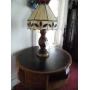 leaded glass lamp, round revolving stand