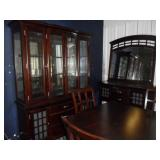 Dining room set w/ table, 6 Chairs, China hutch, Side board & mirror