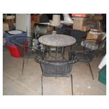 4 wrought iron chairs, mosaic top table