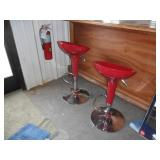 2 Red bar stools & a bar