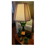 GREEN CUT CRYSTAL LAMP..$175.