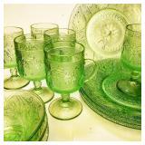 Tiara Green Sandwich Glass