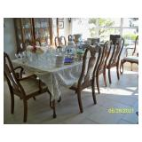 Vintage Harden Furniture Co. China Hutch, Table with 8 Chairs, 2 leaf and Pads.