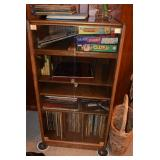 Shelving Unit, Records, VHS Tapes, Games, & Books