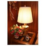 Side Table, Lamp, Floral Arrangement & Decor