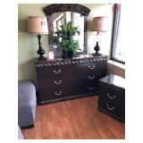 Dresser, Mirror, Lamps, & End Table