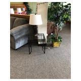 Side Table, Lamp, & Decor