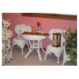 Small Wicker Table, Chairs, Home Decor, Silk Plant