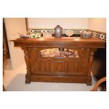 Wood Saloon Bar with Copper Top, Home Decor