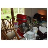 Kitchen-Aid Mixmaster, Kitchen Items, Table,& Chairs