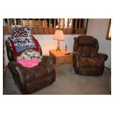 Recliner Chairs, Blankets, Pillow, Side Table, Lamp