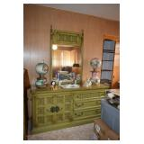Vintage Dresser with Mirror, Lamps, Home Decor