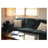 Sofa, Pillows, & Vintage Coffee Table