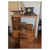 Wooden Display Cabinet & Collectible Items
