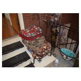 Assorted Chair Cushions, Planter, & Wind Chimes