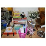 Board Games, Floral Arrangement, Dog Bowl, & Assorted Items