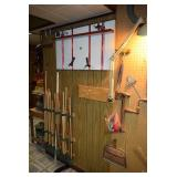 Hammer, Ax, Metal Ruler, and Mounted Lamp