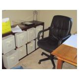 desk chair and storage cabinet