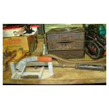vintage tools and tile cutter