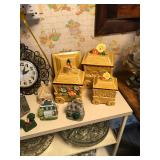 Gold cart containers and small house models