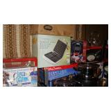 Belgian waffle maker, Betty Crocker indoor barbecue, silver tarnish remover, pots and pans