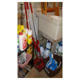 Mop, bleach, dustpans
