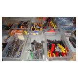 Variety of tools (Wrenches, pliers, socket wrenches, box cutters, tape measures, wire cutters)