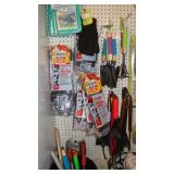 Gardening tools (Rake, shovel, gloves, pads), ice scrapers