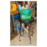 Black stool, air pump, basket