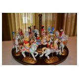 Wooden Base with 12 characters on Carousel horses - Mickey, Huey (nephew), Pinocchio, Pluto, Goofy,