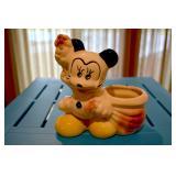Mickey Mouse - Ceramic Planter - back and bottom - Walt Disney - bottom states Mickey Mouse  - glazi