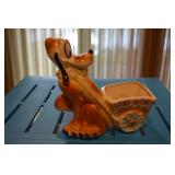 Pluto pulling a cart - Ceramic Planter - Pluto and Walt Disney Prod on bottom - small crack in cart