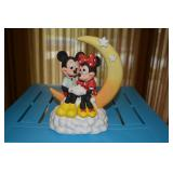 """Mickey Mouse & Minnie Mouse Music Box - sitting on moon - """"When You Wish Upon a Star"""" music - Walt D"""