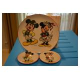 Mickey & Minnie - German - 3 plates - Reutter - Porzellan - W Germany - 1 large and two smaller